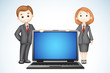 3d Business People with Laptop
