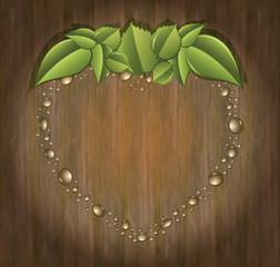 Bio garden strawberry heart organic wood background