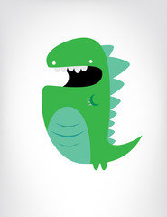 Green dinosaur cartoon illustration