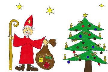 Weihnachtsbild von Kinderhand