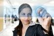 Young successful womanwriting on digital touching screen