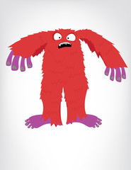 Red and purple Bigfoot monster