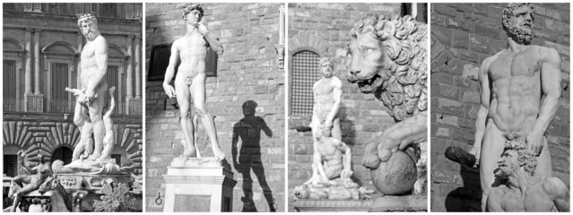 collage with famous sculptures from Piazza Signoria in Florence,