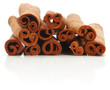Cinnamon sticks spice isolated over white background.