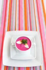 Cold Lithuanian borsch in the plate on a background of stripes