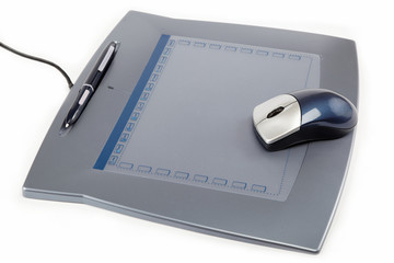Tablet with Cordless Wheel Mouse and Pen isolated on white.