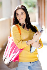 attractive female college student portrait in school