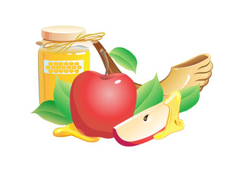 rosh hashana traditional still life. apple, honey and shofar