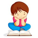 vector illustration of boy reading open book sitting on floor