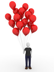 Man with red balloons