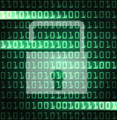 security lock and binary code