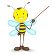 vector illustration of bee giving presentation with stick