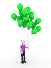 Woman with green balloons