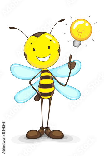 vector illustration of bee with idea bulb above head