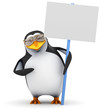 3d Penguin in aviators with blank placard