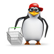 3d Penguin in baseball hat goes shopping