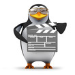3d Penguin in aviators with clapperboard