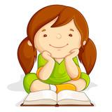 Fototapety vector illustration of girl reading open book sitting on floor