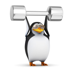 3d Penguin in aviators lifts weights