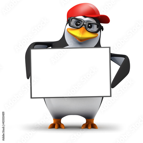 3d Penguin in baseball hat holds blank sign