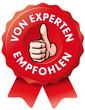 rotes Siegel von Experten empfohlen