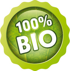 Button 10Prozent Bio with leaf structure