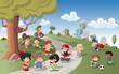 Cute happy cartoon kids playing in green park