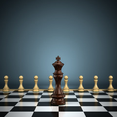 King with pawns on chessboard symbolizing leadership or battle