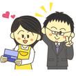 通帳を見て喜ぶ主婦と会社員