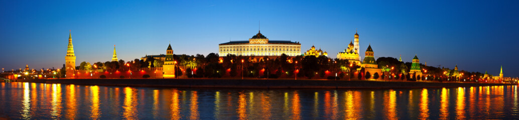 Panorama of Moscow Kremlin in night. Russia