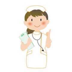 指を立てて説明する看護師