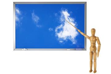 Wooden Dummy with sky school blackboard