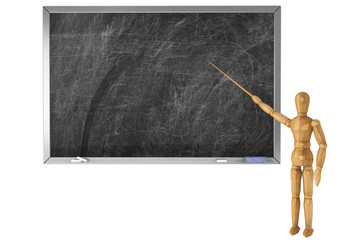 Wooden Dummy with school blackboard