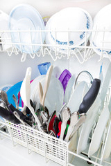 Sparkling clean dishes in the dishwasher