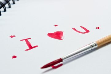 I Love u write a book with watercolor on white.With a pool.