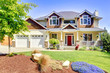 Large American beautiful house with red door. - 43510207