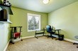 Green home office with beige carpet and simple furniture.