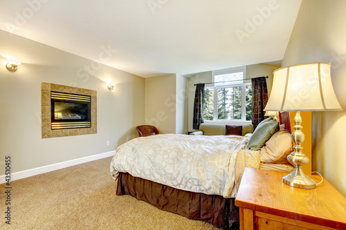 Large bedroom with fireplace and nightstand with lamp.