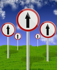 traffic direction signs up