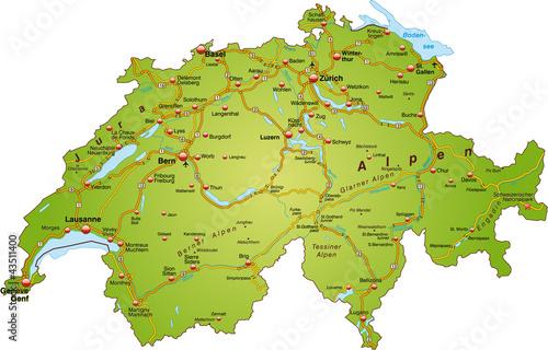 Landkarte der Schweiz mit Autobahnen