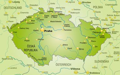 Übersichtskarte von Tschechien mit Nachbarländern