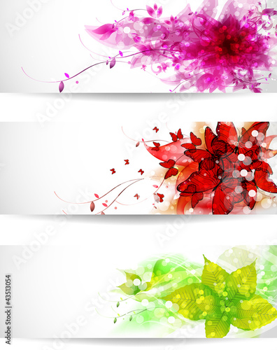 Set of three color vector background or card
