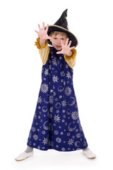 Boy dressed as astrologer. Isolated on white