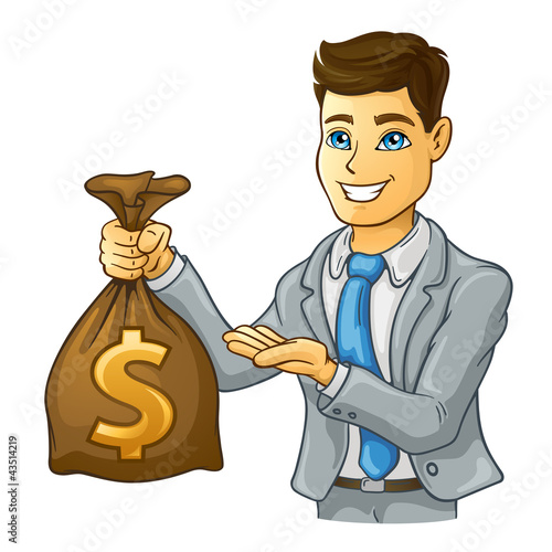 Business man holding money bag