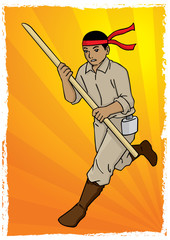 Illustration of soldier running with spear