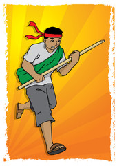 Illustration of man running with spear