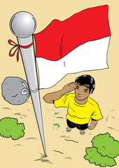 Illustration of man and flag