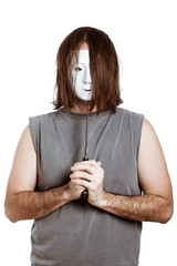 Scary psycho masked man