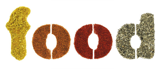 Food word made of herbs and spices