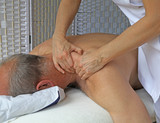 Deep tissue massage to Trapezius muscle poster
